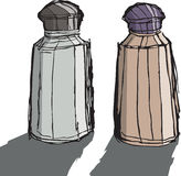 Salt And Pepper. Two shaker of salt and pepper, great for food and beverage illustration or even metaphor for a spicy couple Stock Images