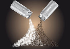 Salt and pepper. Scattered on the table Royalty Free Stock Photos