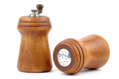 Salt and Pepper Accessories. Close-up of a saltshaker and pepper mill Stock Image