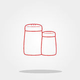 Salt and pepper bottle cute icon in trendy flat style isolated on color background. Kitchenware symbol for your design, logo, UI. Royalty Free Stock Image