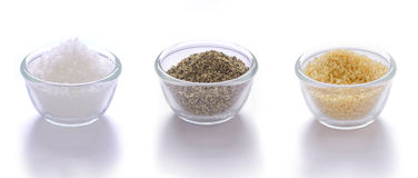 Salt, pepper and brown sugar stock photography
