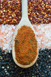 Salt, pepper and chilli background texture Stock Photography