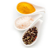 Salt, pepper and curry spices. Coarse fresh Himalayan rock salt, dried black peppercorns and curry powder, a group of culinary spices in white ceramic spoons Stock Photography