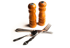 Salt, pepper and cutlery. Royalty Free Stock Photography