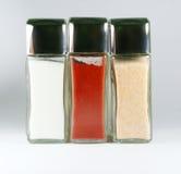 Salt, pepper and garlic Stock Photos