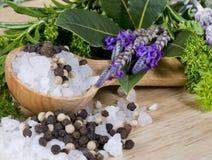 Salt, Pepper, Herbs Stock Photo