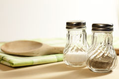 Salt and pepper in the kitchen Stock Photos