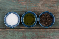 Salt, pepper and oil Royalty Free Stock Image
