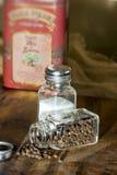 Salt pepper Olive Oil Chopping board Stock Image