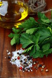Salt, pepper, olive oil, parsley, Stock Images