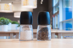 Salt and pepper in the restaurant interior Royalty Free Stock Image