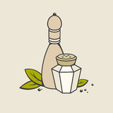 Salt and pepper. In retro style. Vector illustration Stock Images
