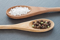 Salt and pepper. Sea salt and peppercorns on wooden spoons Royalty Free Stock Photos