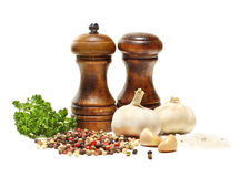 Salt and pepper shaker, garlic, parsley Stock Photo