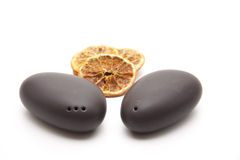 Salt and pepper shaker with lemon Royalty Free Stock Photos