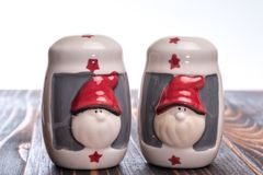 Salt and pepper shaker with santa motive royalty free stock photo