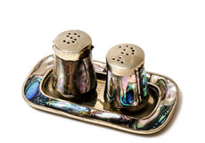 Salt and Pepper shaker, vintage, isolated. Royalty Free Stock Image