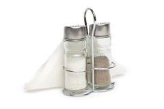 Salt and pepper shaker on a white Stock Image