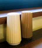 Salt and Pepper Shakers. Plain salt and pepper shakers from a fast food restaurant Royalty Free Stock Photo