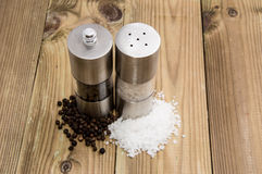 Salt and Pepper with shakers Stock Photography