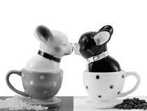 Salt and pepper shakers french bulldogs Royalty Free Stock Images