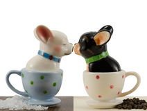 Salt and pepper shakers french bulldogs Royalty Free Stock Photos