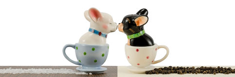 Salt and pepper shakers french bulldogs Royalty Free Stock Photography