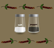 Salt and pepper shakers made of glass. On a background of spices Stock Images