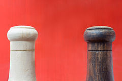 Salt and Pepper. Shakers on a red background Royalty Free Stock Photo