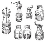 Salt and pepper shakers. Spice containers. Royalty Free Stock Images