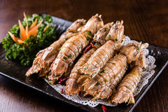 Salt and pepper shrimp stock image