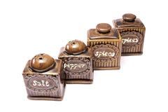 Salt pepper & spices Stock Photos