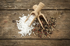 Salt and pepper, top view Stock Photography