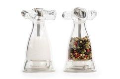 Salt and pepper transparent shaker stock images