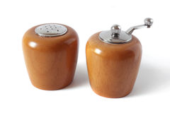 Salt and pepper wooden mills Royalty Free Stock Images