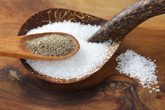 Salt and Pepper in Wooden Spoons. Sea salt and ground black pepper in wooden spoons on top of a wood cutting board Stock Image
