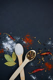 Salt and pepper on wooden spoons. With deco. Salt and pepper on wooden spoons. Decorate with bay leaves and chilli. Dark background. Close-up. Selective focus Royalty Free Stock Photos