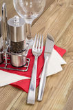 Salt- and Peppershaker with cutlery Stock Image