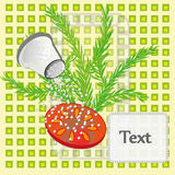 Salt pickle vegetables. Raw vegetables salt from the salt shaker. Vector drawing with text space Stock Photo