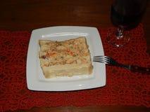 Salt pie on the plate stock photos