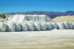Salt pile and sacks with salt on Salinas Grandes Royalty Free Stock Photography