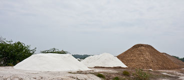 Salt Piles. In Tamil Nadu, India Stock Photos