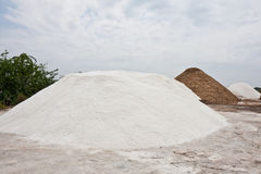 Salt Piles. At a saline in Tamil Nadu, India Stock Photo