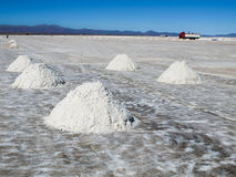 Salt piles on bolivian Salar de Uyuni Stock Images