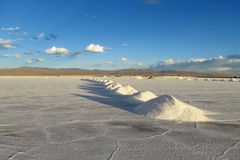 Salt piles on Salar Royalty Free Stock Images