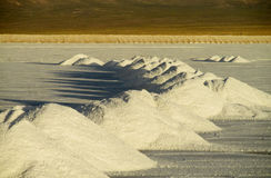 Salt piles on Salar Stock Photos