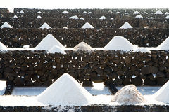 Salt piles in the Salinas de Janubio in Lanzarote Royalty Free Stock Photos