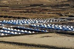 Salt piles in the Salinas de Janubio, Lanzarote. Canary islands, Spain Stock Images