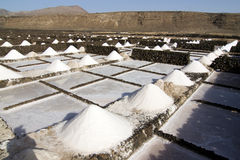 Salt piles on a saline exploration Royalty Free Stock Photos
