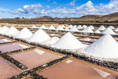 Salt piles in the saline of Janubio Stock Photos